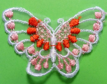 APPLIQUE lace: Butterfly pink/red/white 60 * 40mm