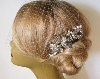 Bridal Veil and Bridal Comb 2 Items,bridal hair comb , birdcage veil, hair clip, hair accessory,bird cage veil,bridal hair clip,wedding hair
