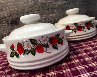 1970's Set of TWO (2) Sheffield Strawberries N' Cream Individual Casserole & Lid,  Retro, Country Cottage, Farmhouse, Cabin Decor