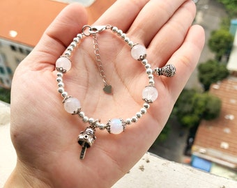 Lucky Cat Lucky Bag Silver Charms and Moonstone Bracelet,gemstone,jewelry,natural gemstone,rainbow moonstone,925 Thai Silver,birthstone,gift