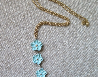 aqua blue flower necklace, long blue necklace, Mother's day gift, pastel blue floral jewelry, elegant flower necklace, minimalist necklace