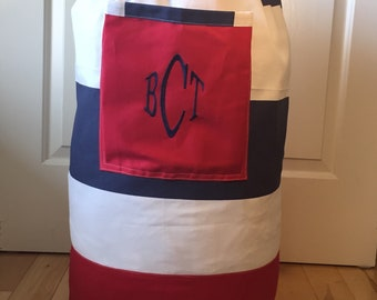 Monogrammed Laundry Duffel Bag, Red, Navy & White Cabana Stripe, Laundry Bag, Laundry Bag for College, Hanging Laundry Bag, Laundry Hamper