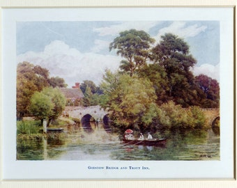 A R Quinton | Antique Lithographic Print | River Thames | Godstow Bridge | Matted | Image size 6.125 x 4.25 inches | 1907 | For framing
