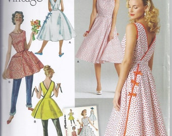 Simplicity 8085.  Reprint of 1950's vintage sewing pattern.  Wrap Dress in two lengths. Bust 30 1/2-36.  UNCUT