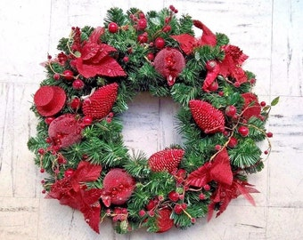 "21"" Christmas Wreath - Fir Wheath Eco ""Red"" - Christmas Decor - Hanging Wreath"