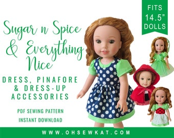 Wellie Wishers Doll Clothes Sewing Pattern fits dolls like WellieWishers™ Princess Dress Up Bundle - Sugar n spice dress & accessory pattern