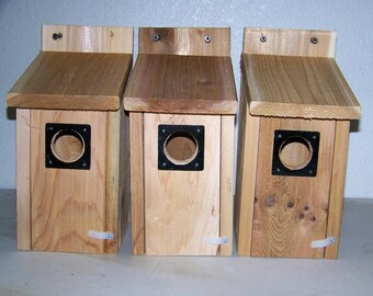 3 Bluebird  houses  with  metal predator guard ....western red cedar