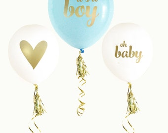 Blue U0026 Gold BABY SHOWER Balloons (set Of 3) | Itu0027s A Boy | Gender Reveal |  Photo Prop | Gender Announcement | Maternity Photo Shoot |