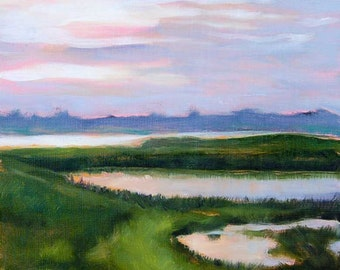 Marsh landscape, sunset painting, coastal art print, modern landscape, blue sky, waterscape, lake cottage oil painting by Paula Prass