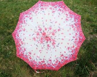 Vintage Pink And Purple Flower Umbrella Unique Umbrella Retro Rain Or Sun Umbrella Vintage Parasol Hand Carved Umbrella Handle