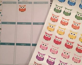 48 Owl Bird Planner Stickers for Erin Condren Life Planner (ECLP) PPP Plum Paper Reminder Sticker LDD1012