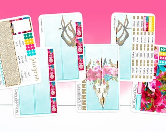 VERTICAL || Boho Bouquet || The Planner Fairy Planner Stickers Weekly Kit