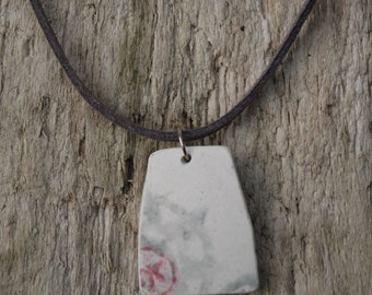 Grey and pink sea pottery necklace
