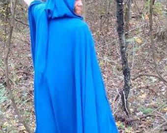 Blue full circle full length cloak with liripipe hood