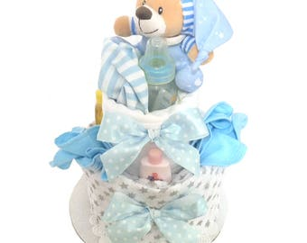 Starry Night Sweet Dreams Blue Baby Diaper Cake, Baby Shower Centerpiece and Gift