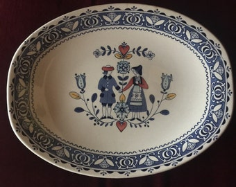 Staffordshire Country French English Hearts and Flowers Platter Plate