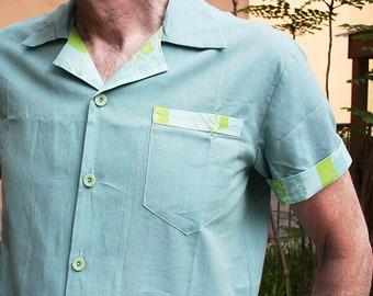 Ocean blue Contrast shirt, Ready to ship! only Medium left.