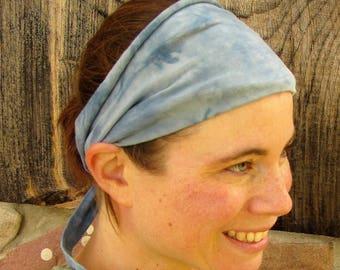 Yoga Headband, Tie Dye Headband, Blue and Gray Headband, Organic Cotton Headband, Scrunch Headband, Tie Dye Hair Wrap