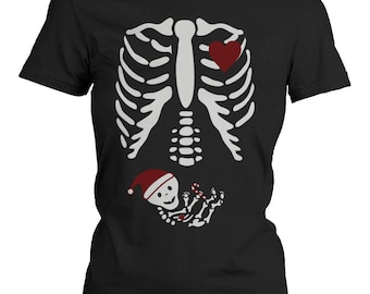 Santa Baby X-Ray Skeleton Maternity Women's T-Shirt