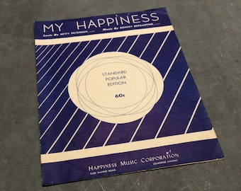 My Happiness Song Piano Book Sheet Music Vintage Distressed