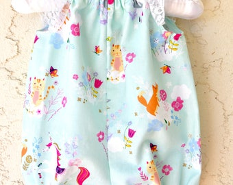 Unicorn baby girl romper with sweet lace flutter sleeves baby shower gift
