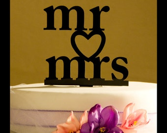 Mr and Mrs with Heart Wedding Cake Topper - Heart wedding cake topper - Mr. and Mrs cake topper -  wedding cake topper - Mr. and Mrs.