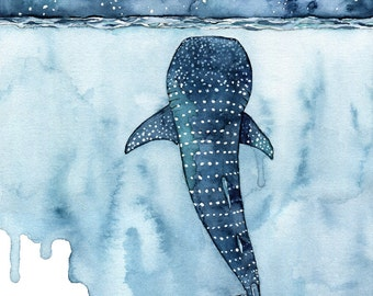 """XLARGE Watercolor Whale Shark Painting - Sizes 16x20 and up, """"Stars Collide"""", Whale Shark, Whale Art, Whale Print, Shark, Whale, Beach Decor"""