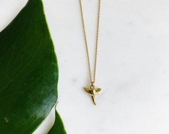 Gold Plated Shark Tooth Necklace on 16 Inch Chain