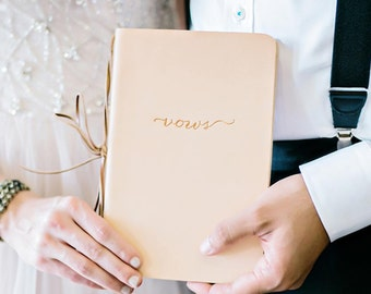 Leather Vow Book - for Wedding ceremonies, Vow Renewals and Wedding Keepsakes - choose your colors