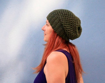 Olive green slouchy hat, chunky hat Clio, winter fashion ready to ship