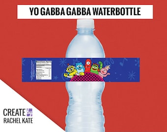 Yo Gabba Gabba Water Bottle Waterbottle Labels - Toodee Foofa Muno Plex and Brobee!