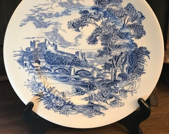 Vintage Pair of Wedgwood Countryside Dinner Plates - Blue and White - 1960's - English Countryside - Made In England - Enoch