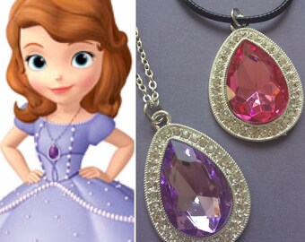Sofia the first necklace, purple amethyst necklace, sofia necklace, sofia the first costume,  sofia the first pink necklace