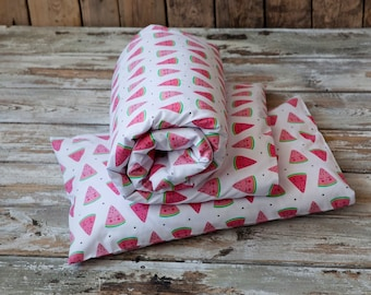 Nursery linen, baby bedding, quilt and pillow, watermelon