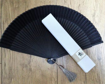 Folding Fan Korean Traditional Silk bamboo Hand Folding Fan With Silk Tassel Zen Style Plain Black Color For Cloth Decorating