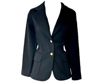 Vintage Blazer Black 70s Jacket Narrow Slim Pockets Size Small