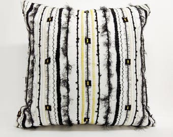 Eye popping Black and White Pillow with a splash of Gold Stitching!