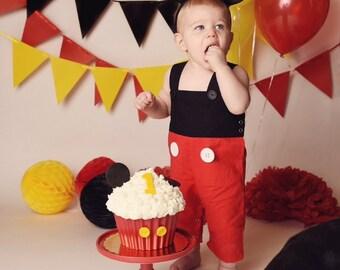 Mickey Mouse First Birthday Outfit Jon Jon Romper Shorts