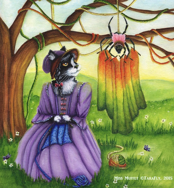 Miss Muffet Cat Art, Nursery Rhyme, Spider Tuffet Knitting, 8x10 Art Print CLEARANCE