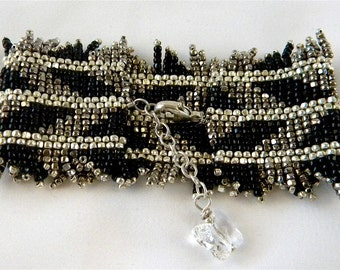 SALE Beaded Beadwork Peyote Stitch Bracelet Black ,Silver, and Gunmetal Silver Seed Beads, 3-Cut, Swarovski Clear  Crystal Butterfly