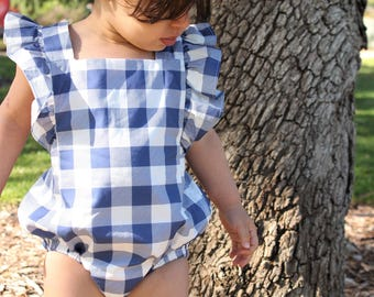 SOLD OUT Indigo Gingham Playsuit