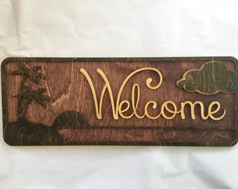 Wood Laser Cut and Engraved Sunset Beach Welcome Sign