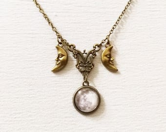 Triple moon necklace, triple goddess pendant, wiccan jewelry, witch necklace, witchcraft jewelry, pagan jewelry, bronze half moon