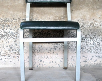 Have a Seat .... Vintage Emeco Chair, Aluminium, Green Vinyl, Navy Chair