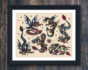Dragon Tattoo Prints, Mens Gift, Valentines Gift PRINTABLE, Large Tattoo Wall Art, Sailor Jerry Tattoo, Home Decor Instant Download (#7773b)