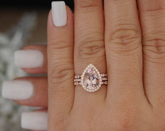 2 Carat Morganite Pear 10x7mm Engagement Ring Low Cost 10k