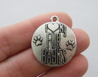 2 I love my fur babies charms antique silver tone M810