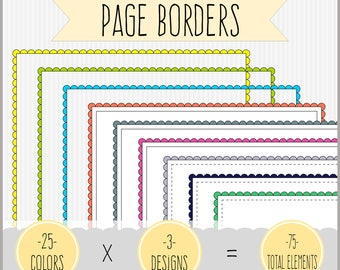 HUGE Set of Scallop Edge Rectangular Borders Clipart.    25 colors x 3 styles = 75 total elements.  High resolution PNG files.