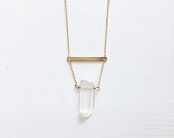 Clean Quartz, 14K Gold filled Necklace, Bar Necklace, Crystal Necklace