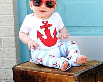 Baby Leg Warmers and Bodysuit with Anchor for Boy or Girl - Nautical Infant Summer One Piece and Leggings - Birthdays, Gifts, Photo Shoots